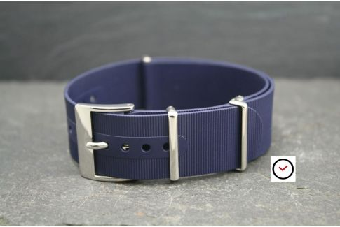 Night Blue rubber NATO watch strap, polished buckle and loops