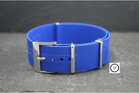 Royal Blue rubber NATO watch strap, polished buckle and loops