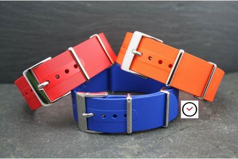 Bracelet montre NATO caoutchouc Bleu Roi, boucle polie