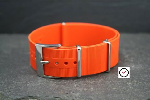 Orange rubber NATO watch strap, polished buckle and loops