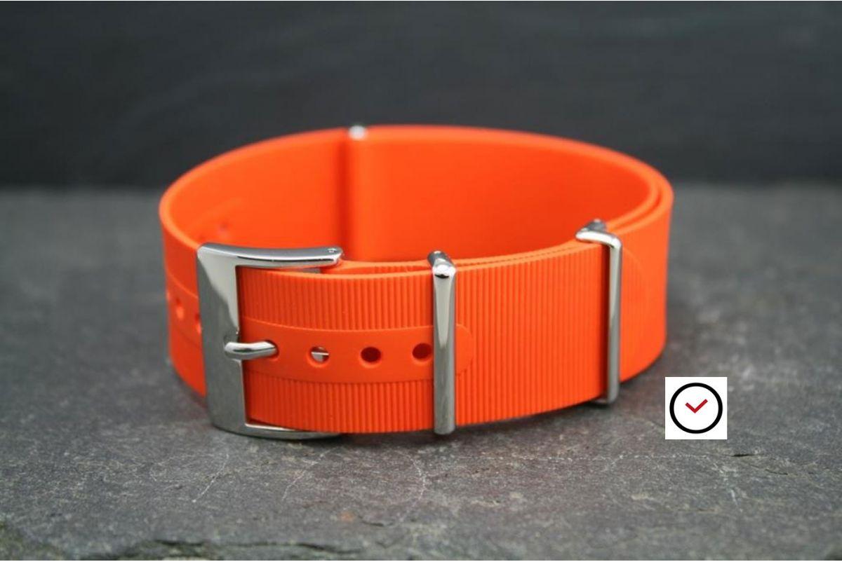 Bracelet montre NATO caoutchouc Orange, boucle polie