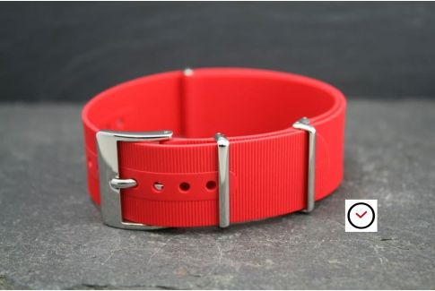 Red rubber NATO watch strap, polished buckle and loops