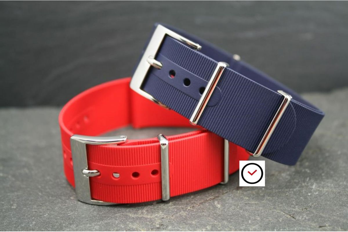 Bracelet montre NATO caoutchouc Rouge, boucle polie