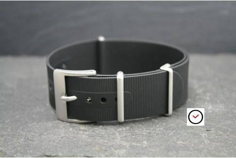 Black rubber NATO watch strap, brushed buckle and loops