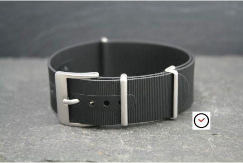 Bracelet montre NATO caoutchouc Noir, boucle sablée