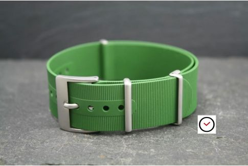 Kaki (Military / Army Green) rubber NATO watch strap, brushed buckle and loops