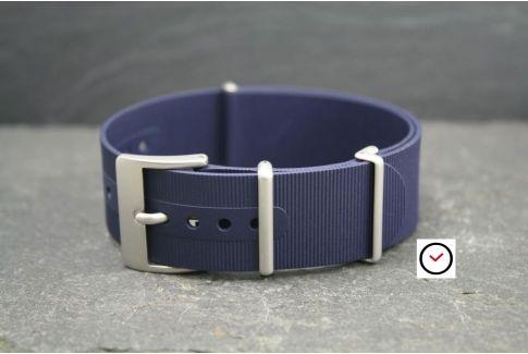 Bracelet montre NATO caoutchouc Bleu Nuit, boucle sablée