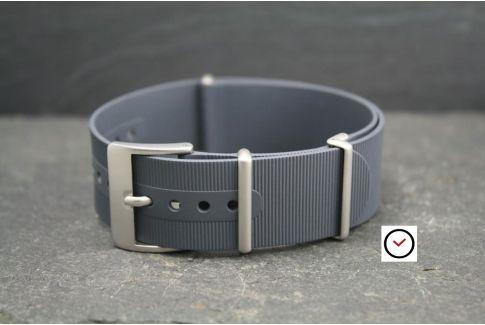 Bracelet montre NATO caoutchouc Gris anthracite, boucle sablée