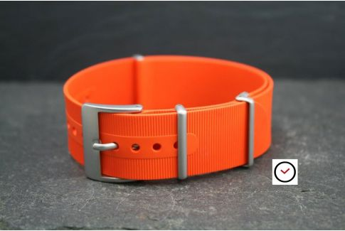 Orange rubber NATO watch strap, brushed buckle and loops