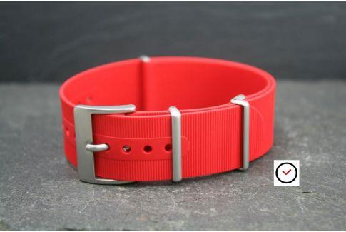 Bracelet montre NATO caoutchouc Rouge, boucle sablée