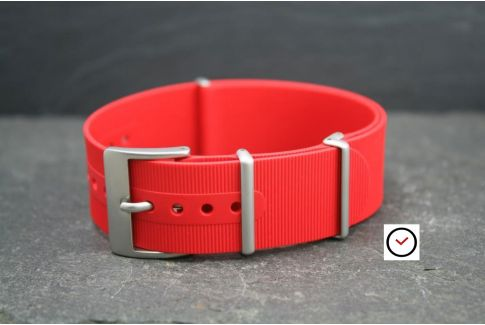 Red rubber NATO watch strap, brushed buckle and loops