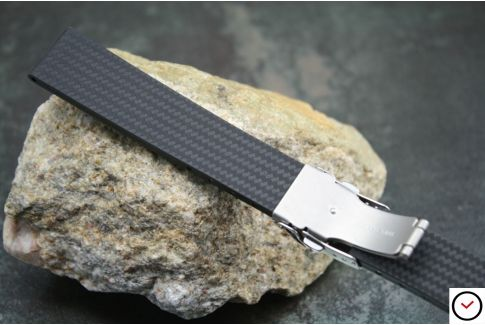 Raw/Carbon Black reversible natural rubber watch strap, stainless steel safety deployment clasp