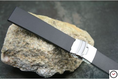Black reversible natural rubber watch strap, stainless steel safety deployment clasp