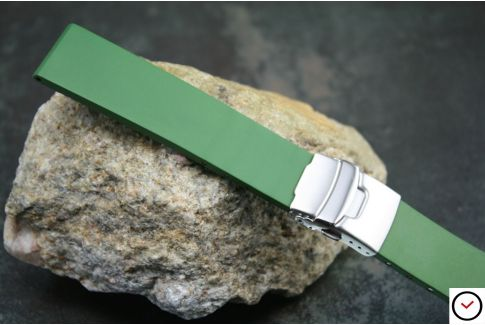 Kaki Green reversible natural rubber watch strap, stainless steel safety deployment clasp