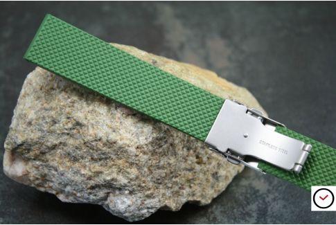 Bracelet montre réversible en caoutchouc naturel Vert Kaki, boucle déployante acier inox avec sécurité