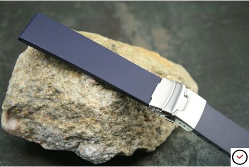 Night Blue reversible natural rubber watch strap, stainless steel safety deployment clasp