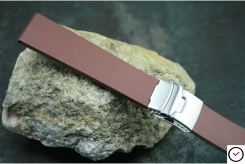 Brown reversible natural rubber watch strap, stainless steel safety deployment clasp
