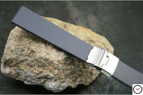 Grey reversible natural rubber watch strap, stainless steel safety deployment clasp