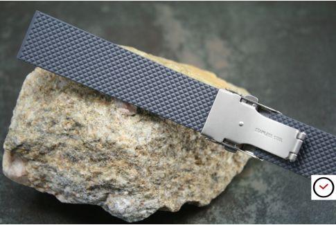 Bracelet montre réversible en caoutchouc naturel Gris Anthracite, boucle déployante acier inox avec sécurité