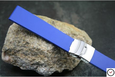 Royal Blue reversible natural rubber watch strap, stainless steel safety deployment clasp