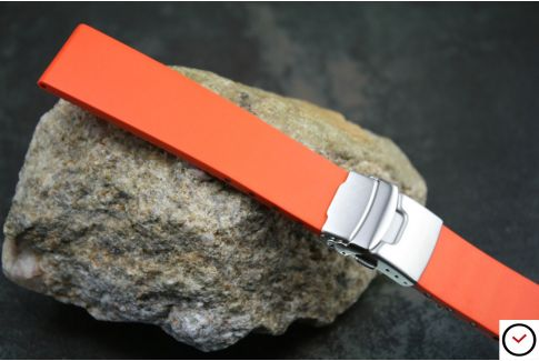 Orange reversible natural rubber watch strap, stainless steel safety deployment clasp