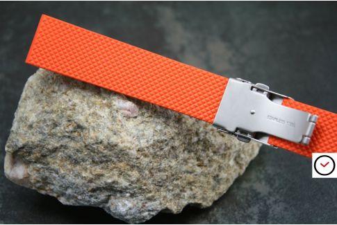 Bracelet montre réversible en caoutchouc naturel Orange, boucle déployante acier inox avec sécurité