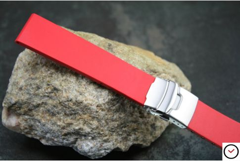 Red reversible natural rubber watch strap, stainless steel safety deployment clasp