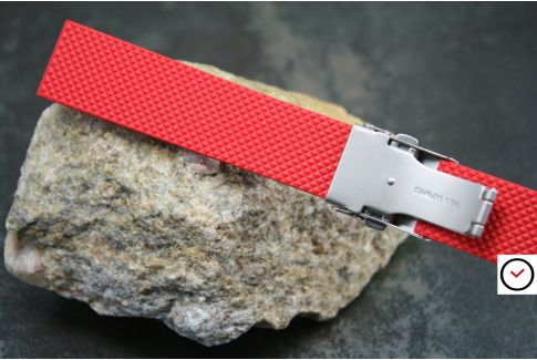 Bracelet montre réversible en caoutchouc naturel Rouge, boucle déployante acier inox avec sécurité