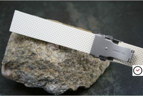 Bracelet montre réversible en caoutchouc naturel Blanc, boucle déployante acier inox avec sécurité
