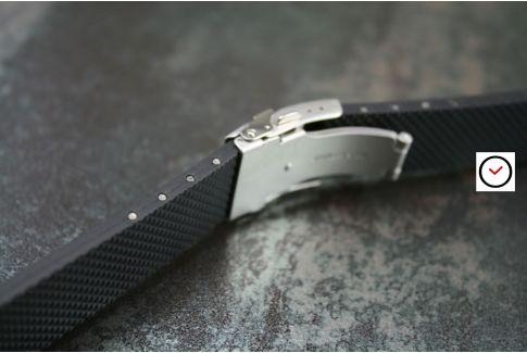 Bracelet montre réversible en caoutchouc naturel Marron, boucle déployante acier inox avec sécurité