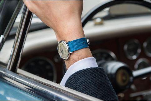 Petrol Blue Olaaf watch strap, made in France