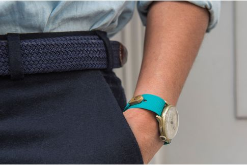 Turquoise Blue Olaaf watch strap, made in France