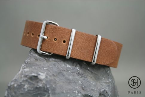 Gold Brown SELECT-HEURE leather NATO watch strap, polished stainless steel buckle