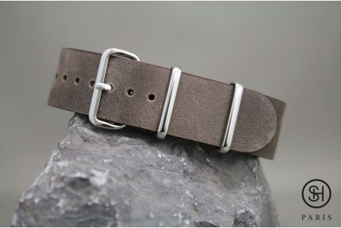Bracelet montre NATO cuir SELECT-HEURE Marron foncé, boucle acier inox poli