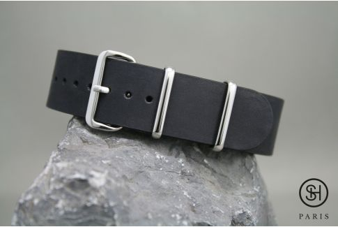 Mat Black SELECT-HEURE leather NATO watch strap, polished stainless steel buckle