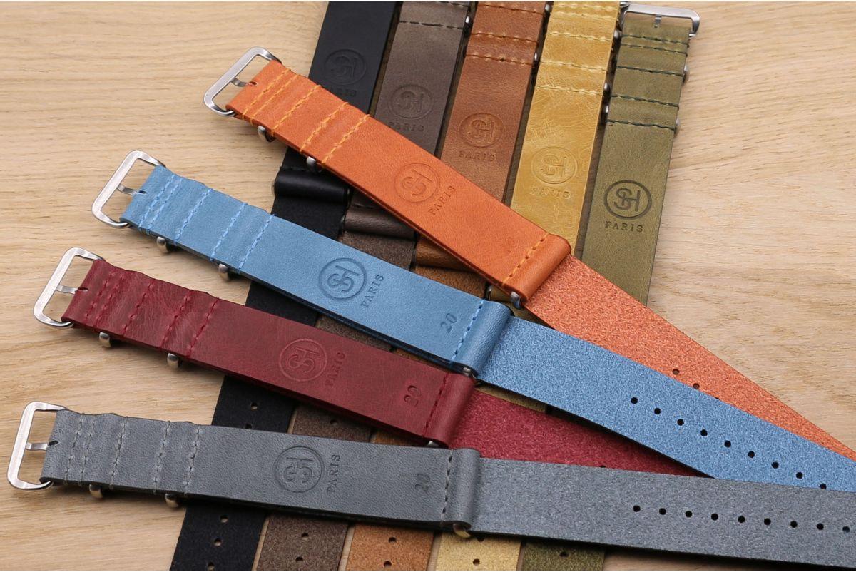 Bracelet montre NATO cuir SELECT-HEURE Noir mat, boucle acier inox poli