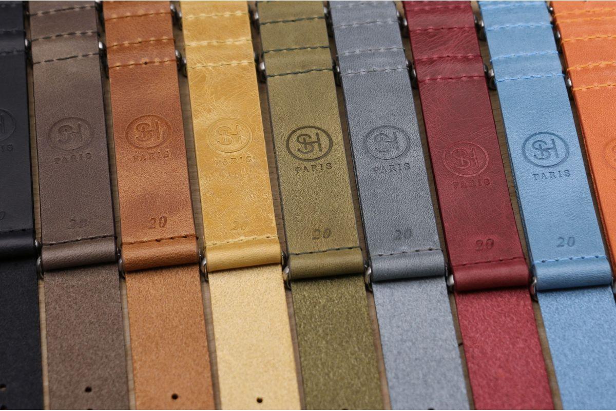 Bracelet montre NATO cuir SELECT-HEURE Miel, boucle acier inox poli