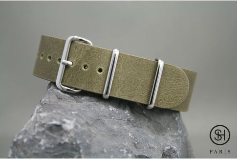 Olive Green SELECT-HEURE leather NATO watch strap, polished stainless steel buckle
