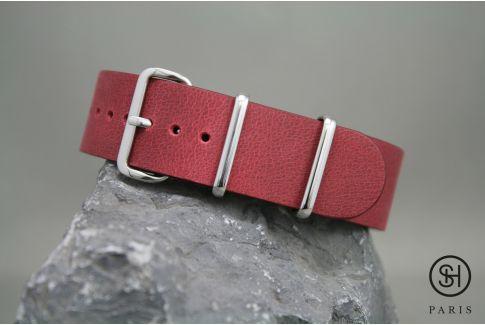 Bracelet montre NATO cuir SELECT-HEURE Bourgogne, boucle acier inox poli