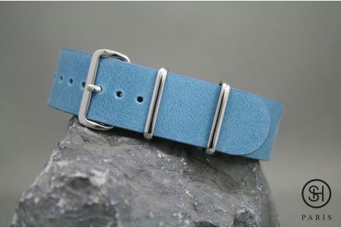 Bracelet montre NATO cuir SELECT-HEURE Bleu Pastel, boucle acier inox poli