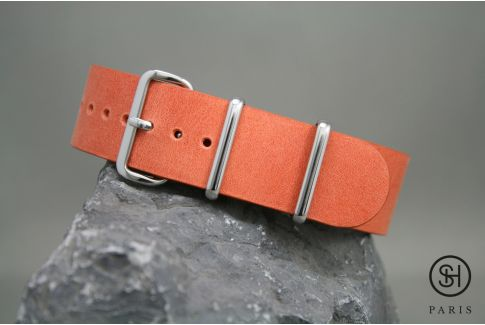 Tangerine Orange SELECT-HEURE leather NATO watch strap, polished stainless steel buckle