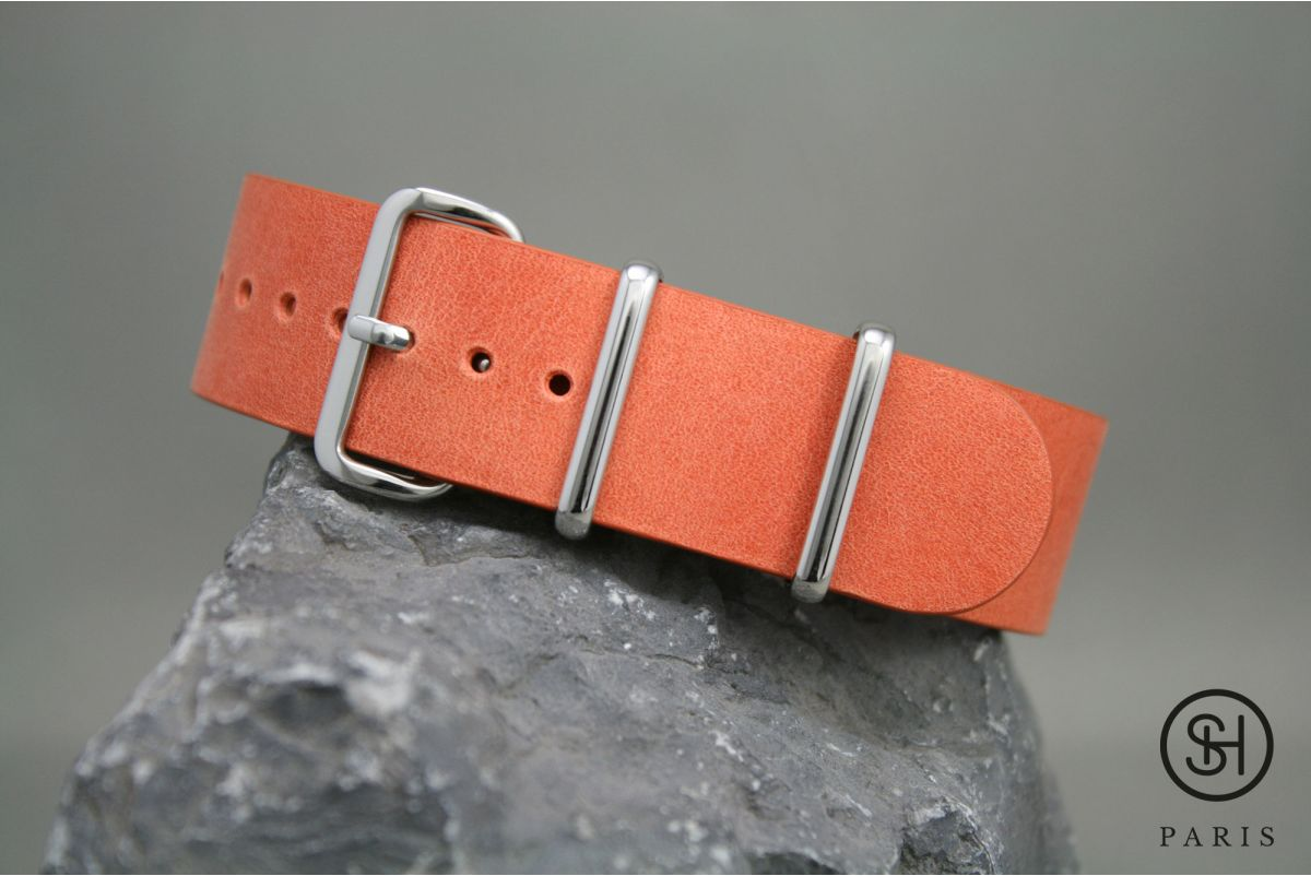 Bracelet montre NATO cuir SELECT-HEURE Orange Tangerine, boucle acier inox poli