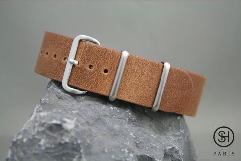 Gold Brown SELECT-HEURE leather NATO watch strap, brushed stainless steel buckle