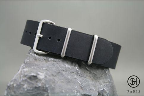 Bracelet montre NATO cuir SELECT-HEURE Noir mat, boucle acier inox brossé