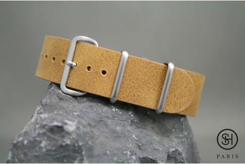Bracelet montre NATO cuir SELECT-HEURE Miel, boucle acier inox brossé