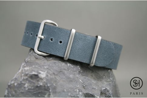 Blue Grey SELECT-HEURE leather NATO watch strap, brushed stainless steel buckle
