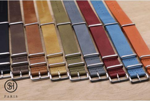 Bracelet montre NATO cuir SELECT-HEURE Gris Bleu, boucle acier inox brossé