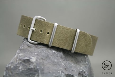 Olive Green SELECT-HEURE leather NATO watch strap, brushed stainless steel buckle