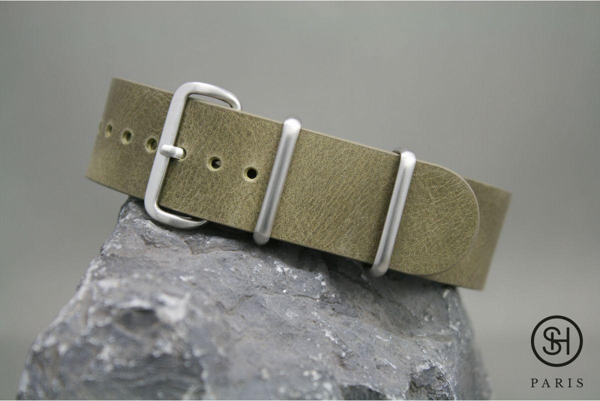 Bracelet montre NATO cuir SELECT-HEURE Olive, boucle acier inox brossé