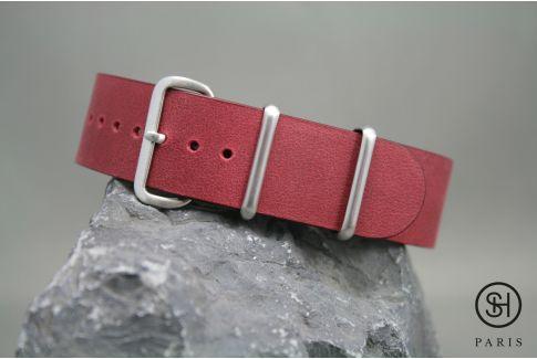 Bracelet montre NATO cuir SELECT-HEURE Bourgogne, boucle acier inox brossé